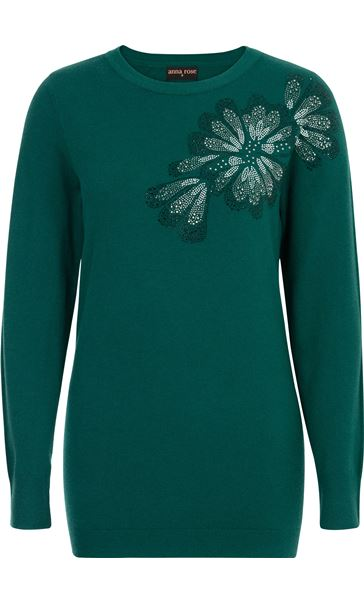 Anna Rose Embellished Long Sleeve Knit Top Emerald - Gallery Image 2