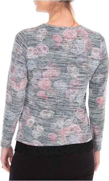 Anna Rose Lace Trim Knit Top With Necklace Black/Pink/Multi - Gallery Image 2