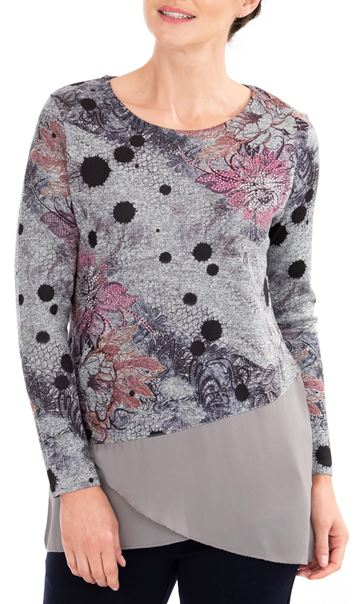 Anna Rose Embellished Knit And Georgette Top Grey Marl/Pink