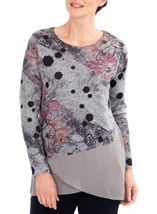 Anna Rose Embellished Knit And Georgette Top Grey Marl/Pink - Gallery Image 1