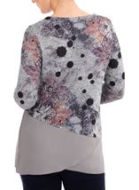 Anna Rose Embellished Knit And Georgette Top Grey Marl/Pink - Gallery Image 2