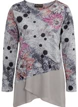 Anna Rose Embellished Knit And Georgette Top Grey Marl/Pink - Gallery Image 4
