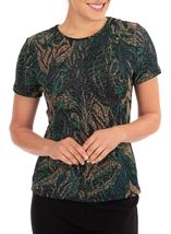 Anna Rose Printed Jersey Top Green/Gold - Gallery Image 1