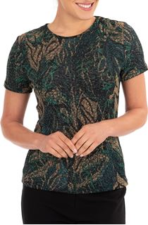 Anna Rose Printed Jersey Top - Green/Gold
