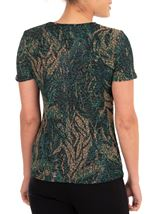 Anna Rose Printed Jersey Top Green/Gold - Gallery Image 2