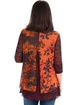 Printed Knit Layered Tunic Oranges - Gallery Image 2