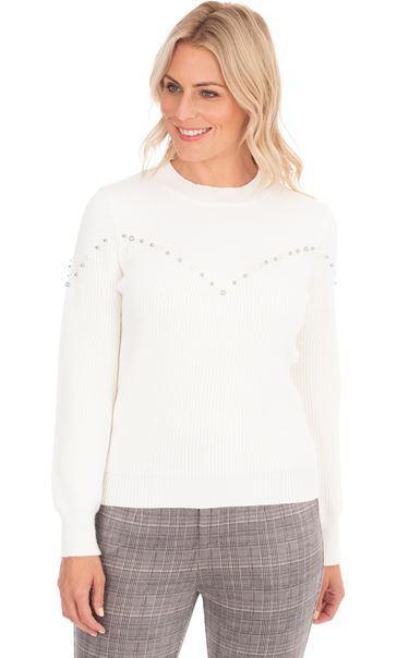 Embellished Long Sleeve Knit Top Ivory