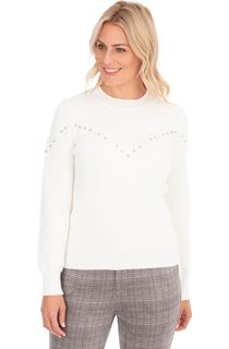 Embellished Long Sleeve Knit Top