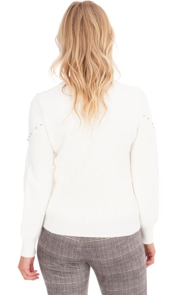 Embellished Long Sleeve Knit Top Ivory - Gallery Image 2