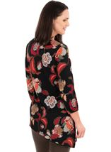Printed Asymmetric Long Sleeve Tunic Black/Red - Gallery Image 2