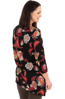 Printed Asymmetric Long Sleeve Tunic