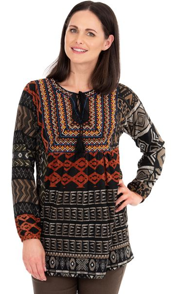 Embroidered Long Sleeve Knit Top Oranges