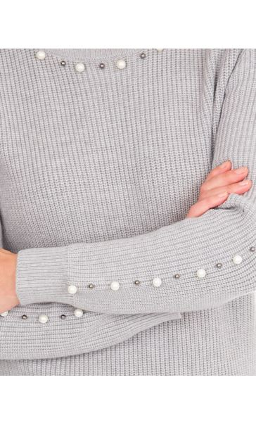 Faux Pearl Embellished Knitted Top Grey - Gallery Image 3