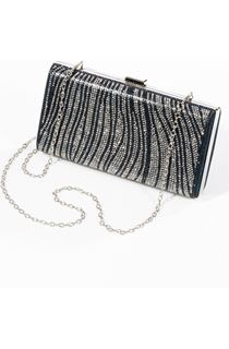 Embellished Shell Clutch Bag - Navy/Silver