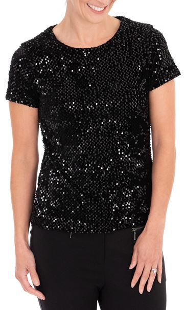 Anna Rose Sequin Velour Short Sleeve Top Black