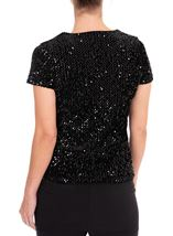 Anna Rose Sequin Velour Short Sleeve Top Black - Gallery Image 2