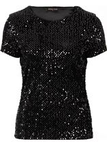 Anna Rose Sequin Velour Short Sleeve Top Black - Gallery Image 4
