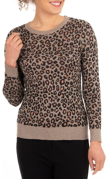 Anna Rose Animal Sparkle Knit Top Gold