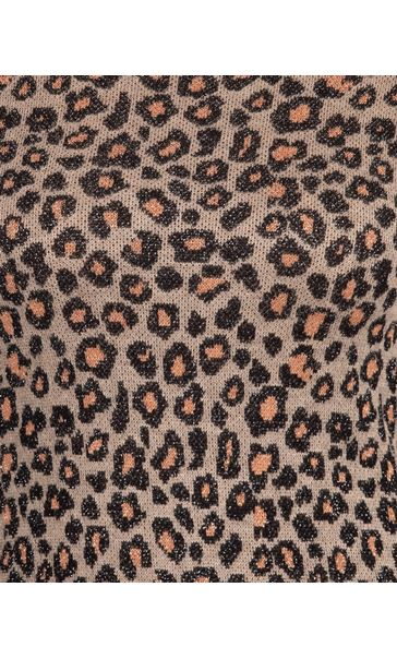 Anna Rose Animal Sparkle Knit Top Gold - Gallery Image 3