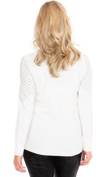 Embellished Long Sleeve Knit Top - Ivory