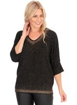 Embellished V Neck Knit Top Brown/Gold - Gallery Image 1