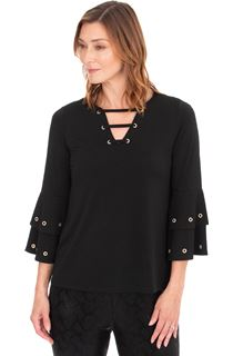Three Quarter Sleeve Eyelet Trim Top