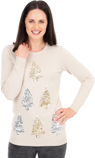 Embellished Christmas Tree Festive Knit Top Winter White