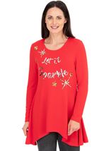 Embellished Knitted Festive Tunic Red/Gold - Gallery Image 1