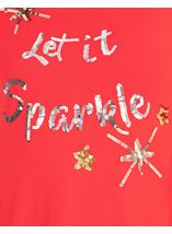 Embellished Knitted Festive Tunic Red/Gold - Gallery Image 3