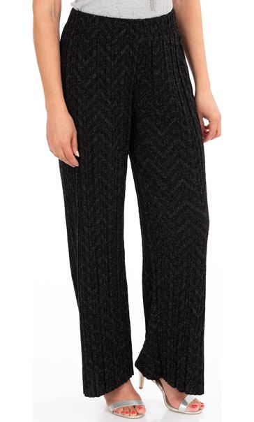 Pleated Wide Leg Shimmer Trousers Black/Silver
