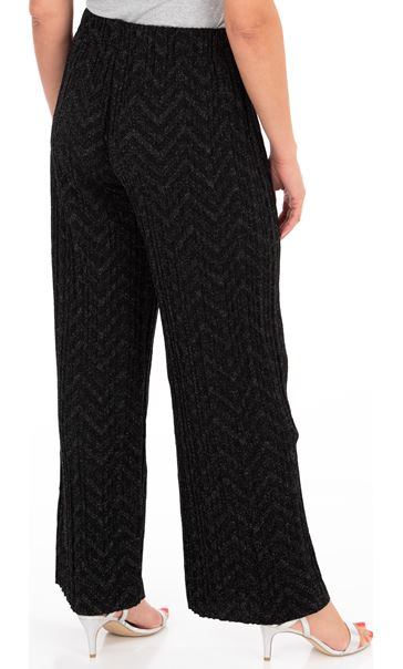 Pleated Wide Leg Shimmer Trousers Black/Silver - Gallery Image 2
