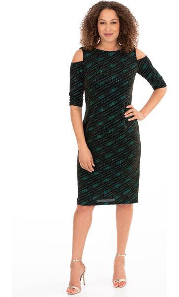 Sparkle Jersey Cold Shoulder Dress Black/Green