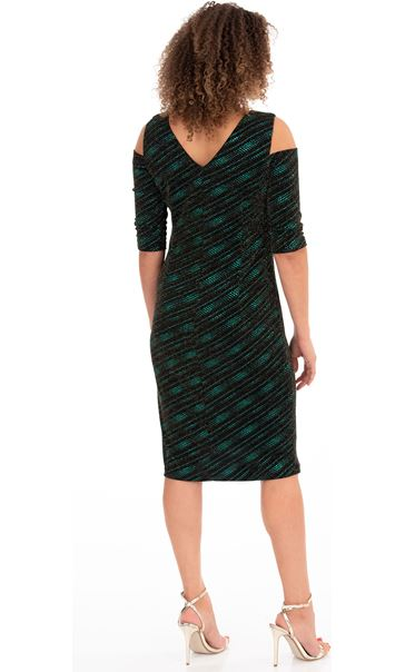 Sparkle Jersey Cold Shoulder Dress Black/Green - Gallery Image 2