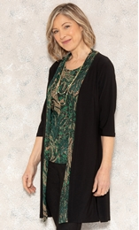 Anna Rose Moc Two Piece Top With Necklace Green/Gold - Gallery Image 2