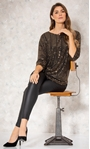 Relaxed Fit Circle Shimmer Top Black/Gold - Gallery Image 1