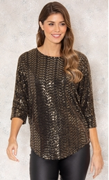 Relaxed Fit Circle Shimmer Top Black/Gold - Gallery Image 2