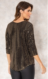 Relaxed Fit Circle Shimmer Top Black/Gold - Gallery Image 3