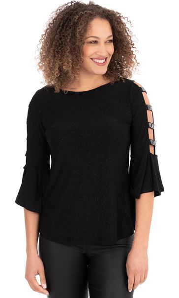 Embellished Bell Ladder Sleeve Top Black - Gallery Image 1
