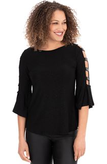 Embellished Bell Ladder Sleeve Top