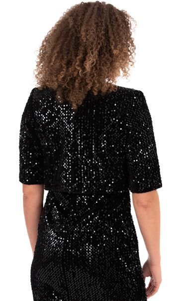 Velour And Sequin Cropped Jacket Black - Gallery Image 2