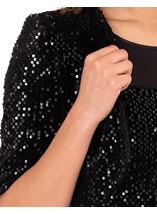 Velour And Sequin Cropped Jacket Black - Gallery Image 3