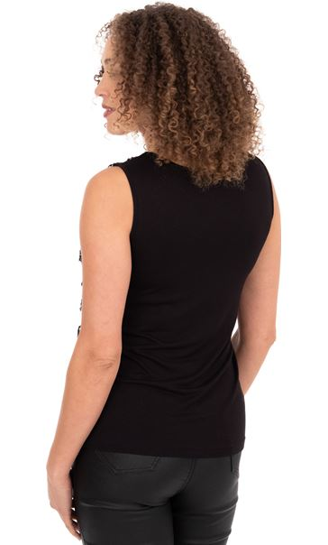 Sequin Fringed Mesh Sleeveless Top Black/Gold - Gallery Image 3