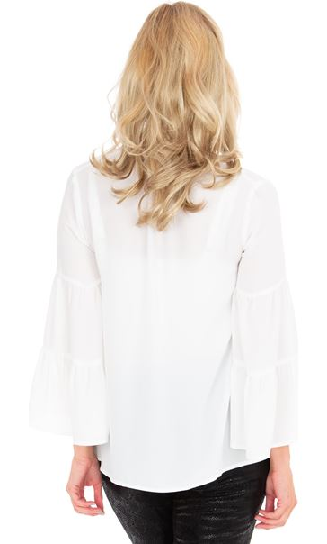 Bell Sleeve Chiffon Top Ivory - Gallery Image 2