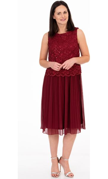 Sequin Lace And Chiffon Midi Dress Merlot