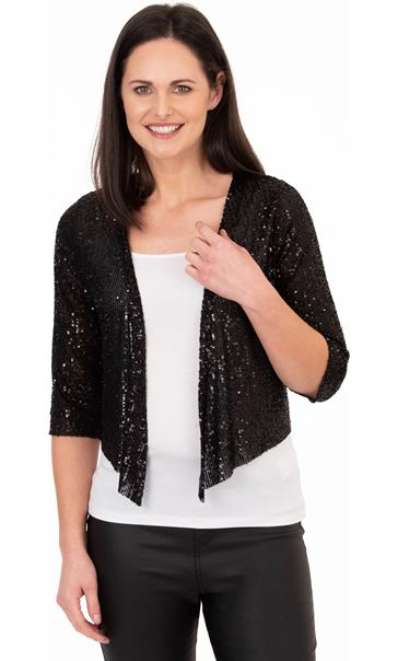 Sequin Mesh Cover Up Black