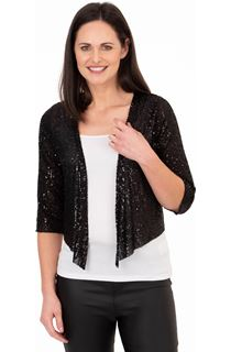 Sequin Mesh Cover Up - Black