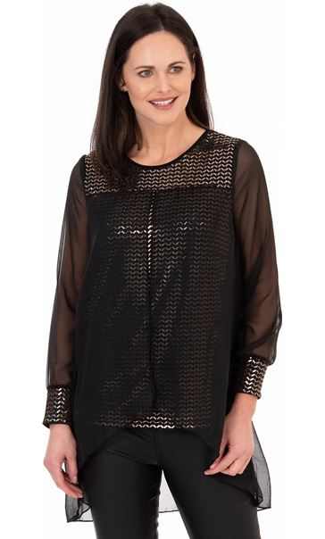 Chiffon Layered Shimmer Top Black/Gold
