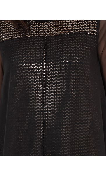 Chiffon Layered Shimmer Top Black/Gold - Gallery Image 3