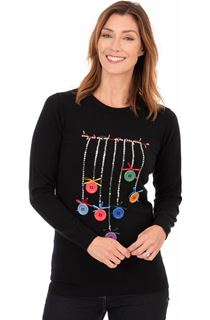 Button Bauble Festive Knit Top