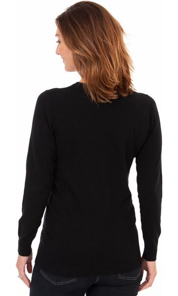 Button Bauble Festive Knit Top Black - Gallery Image 2